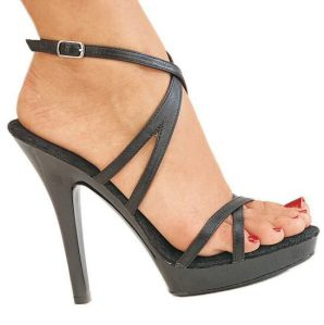 "Pleaser - 5"" Heel Criss-Cross Strap Ankle Buckle Leather Sandal"